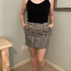 BCBGeneration Tweed Skirt with Gold Chain Detail